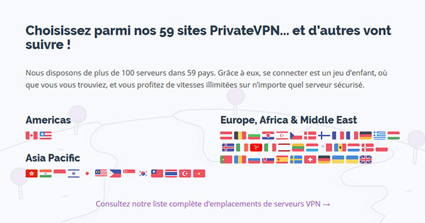 Serveurs PrivateVPN
