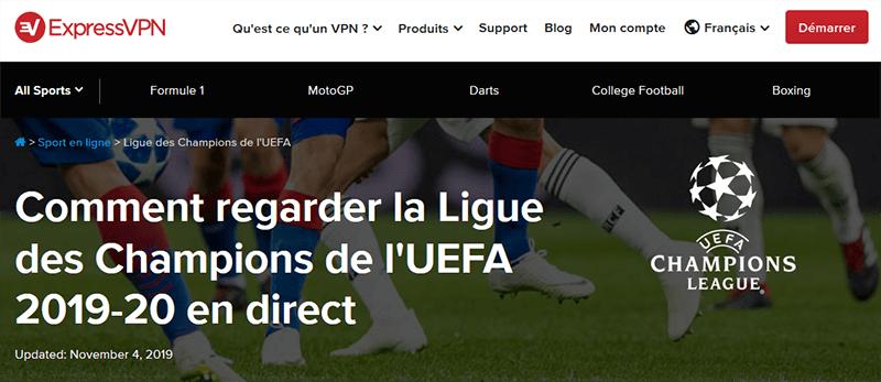 ExpressVPN Ligue des Champions
