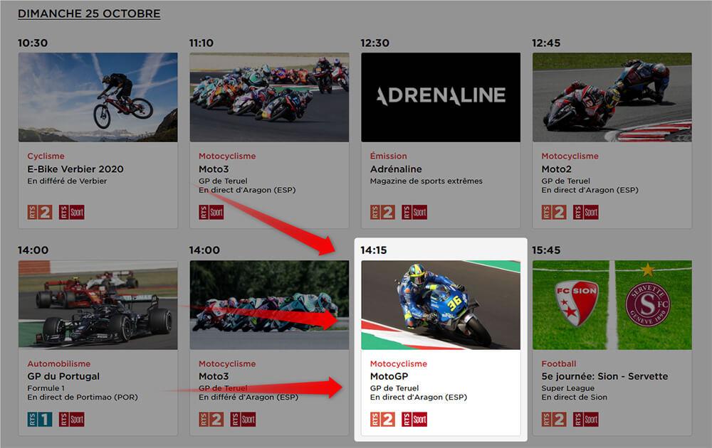 Programme RTS MotoGP GP Teruel