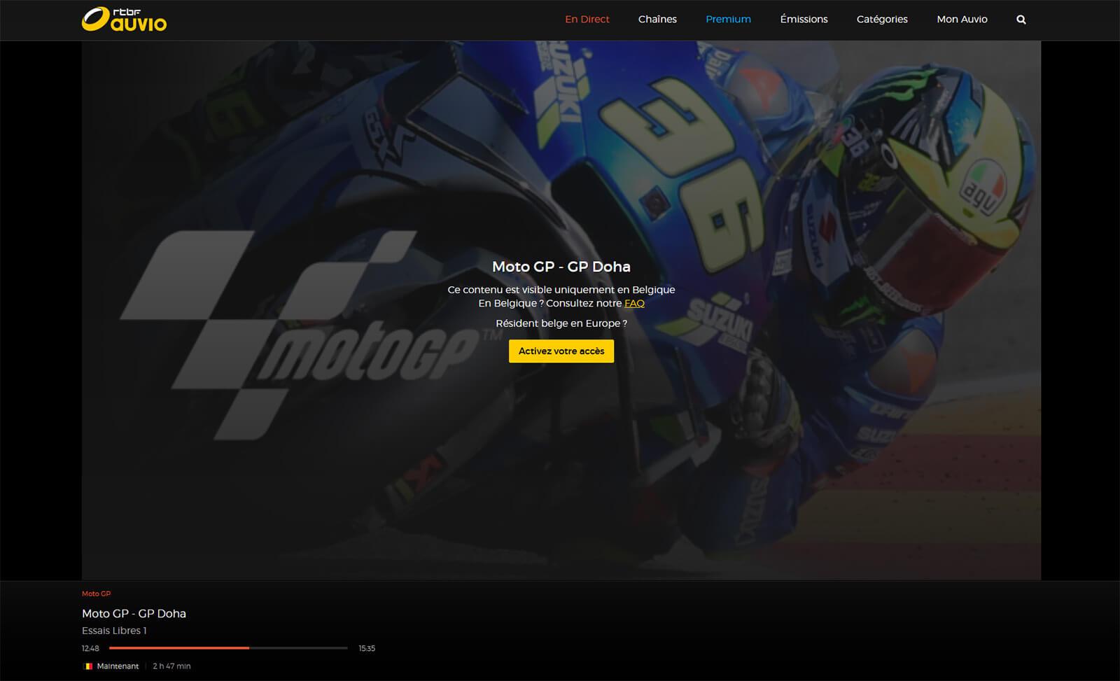 Message erreur géo-blocage MotoGP RTBF
