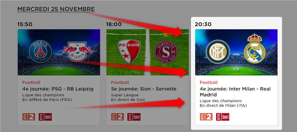 Programme RTS LDC Inter Milan Real Madrid